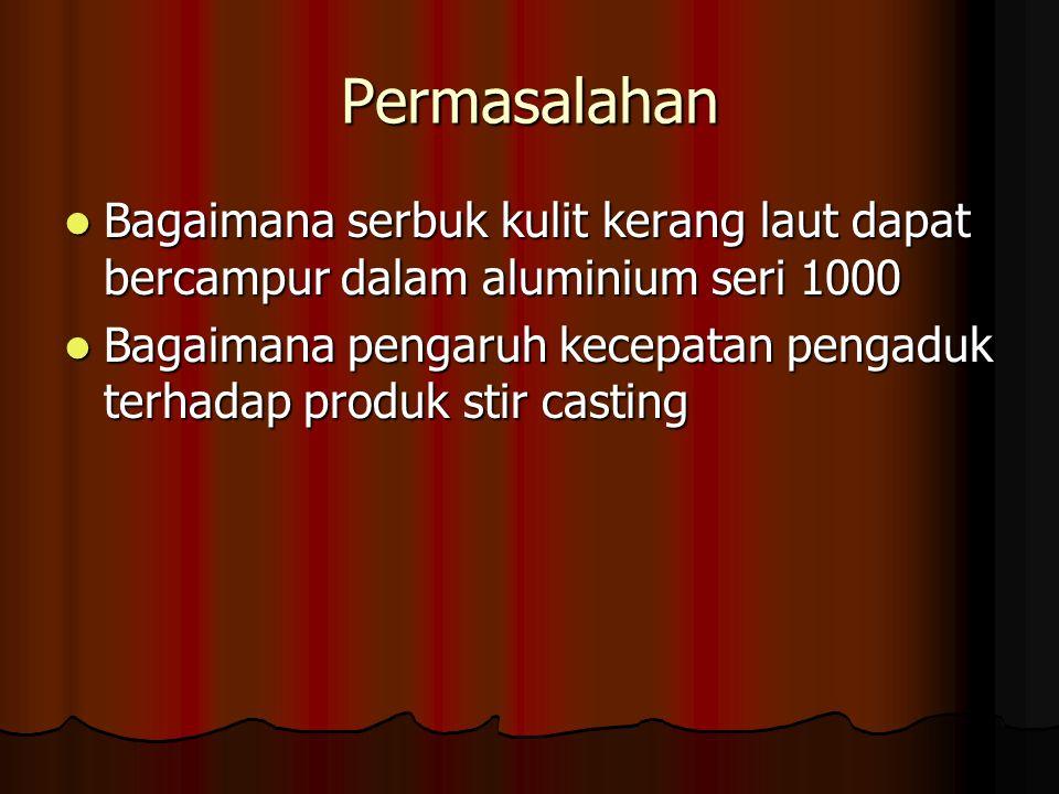 Permasalahan Bagaimana serbuk kulit kerang laut dapat bercampur dalam aluminium seri 1000.