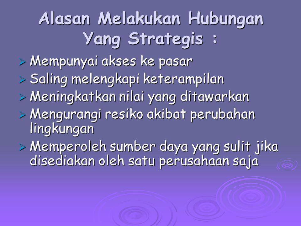 Alasan Melakukan Hubungan Yang Strategis :