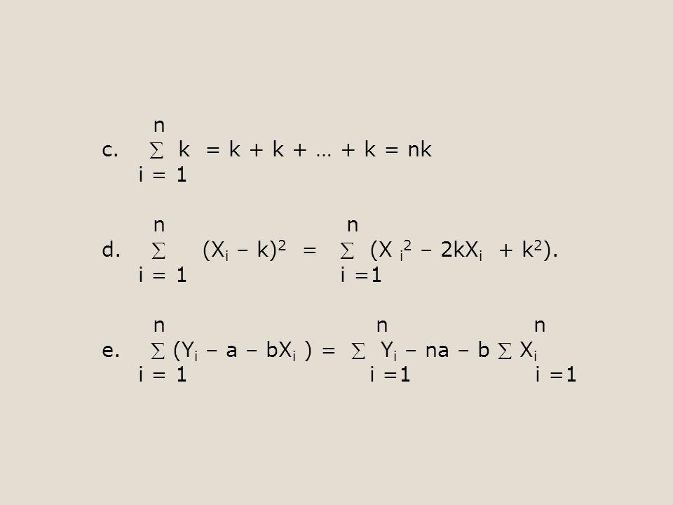 n c.  k = k + k + … + k = nk i = 1 n n d