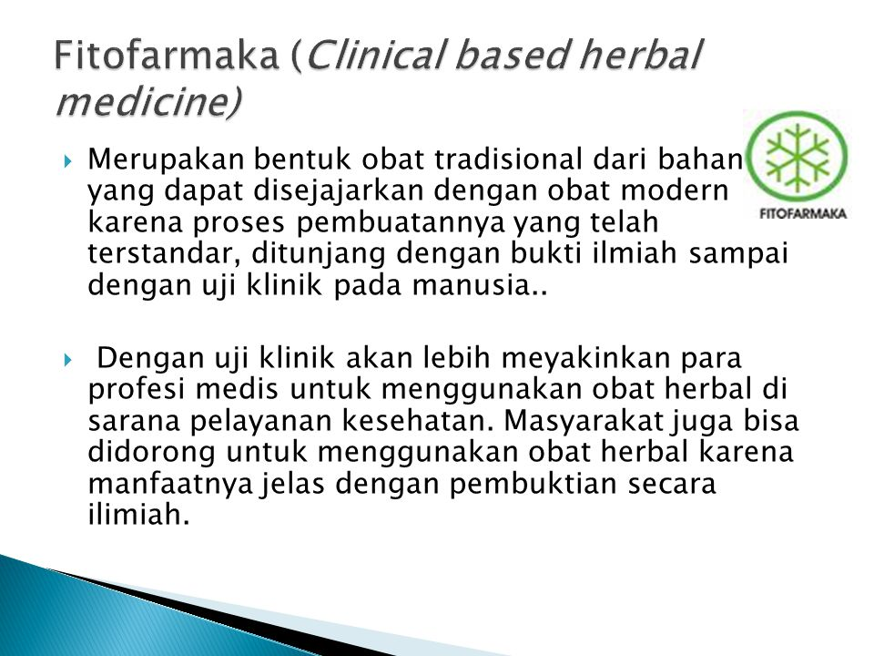 Fitofarmaka (Clinical based herbal medicine)