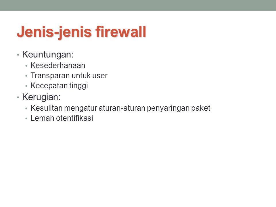 Jenis-jenis firewall Keuntungan: Kerugian: Kesederhanaan