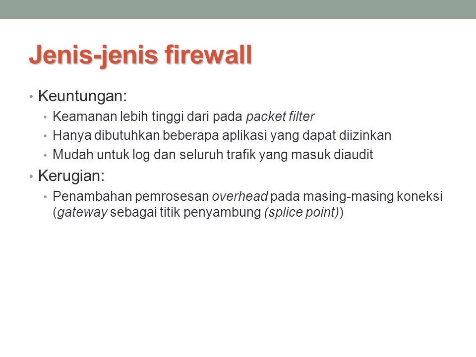 Jenis-jenis firewall Keuntungan: Kerugian: