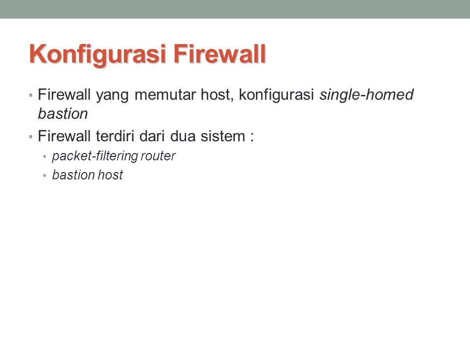 Konfigurasi Firewall Firewall yang memutar host, konfigurasi single-homed bastion. Firewall terdiri dari dua sistem :