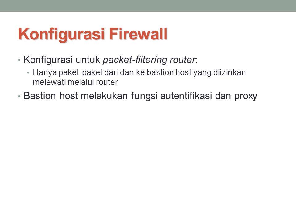 Konfigurasi Firewall Konfigurasi untuk packet-filtering router: