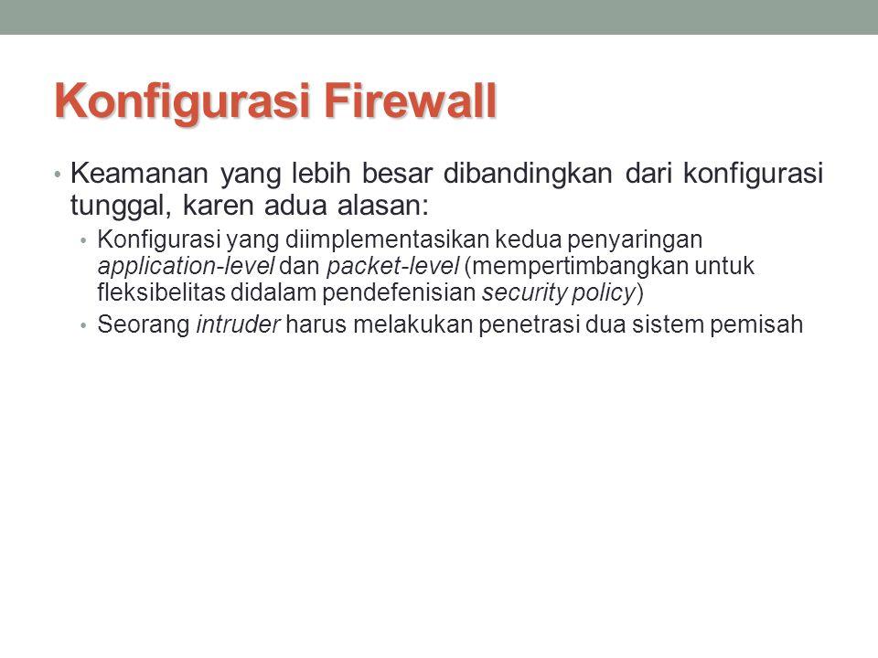 Konfigurasi Firewall Keamanan yang lebih besar dibandingkan dari konfigurasi tunggal, karen adua alasan: