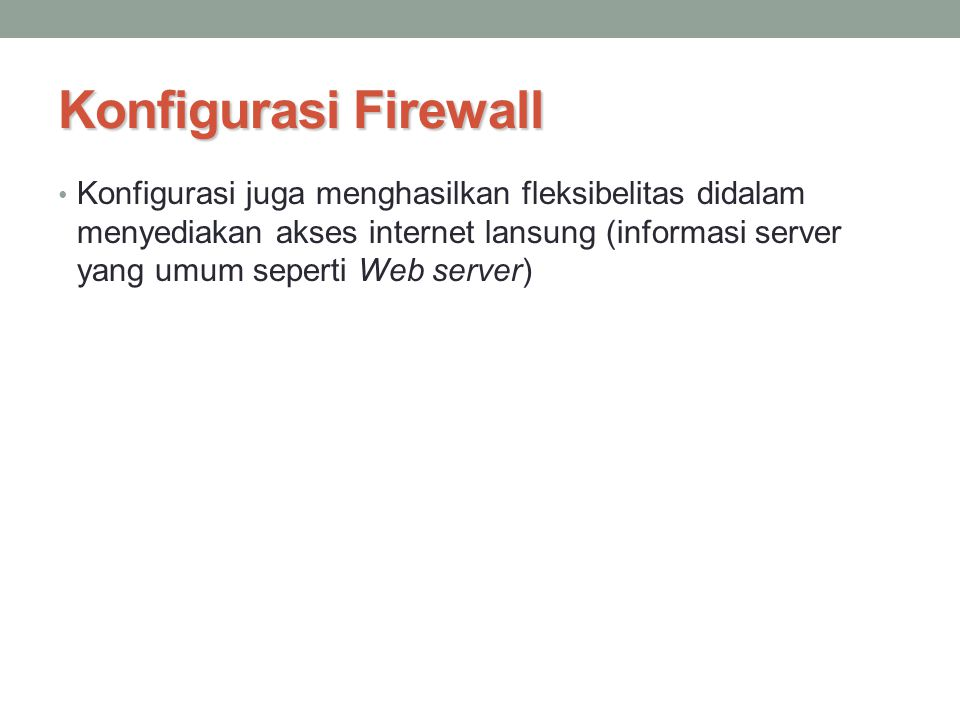 Konfigurasi Firewall