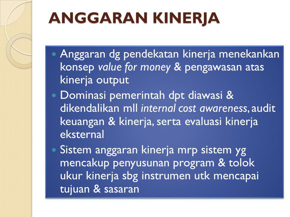 anggaran KINERJA Anggaran dg pendekatan kinerja menekankan konsep value for money & pengawasan atas kinerja output.
