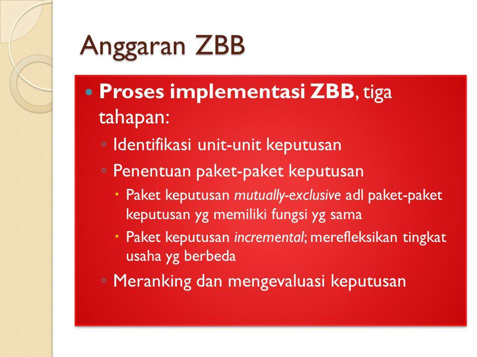 Anggaran ZBB Proses implementasi ZBB, tiga tahapan: