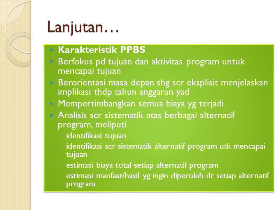 Lanjutan… Karakteristik PPBS