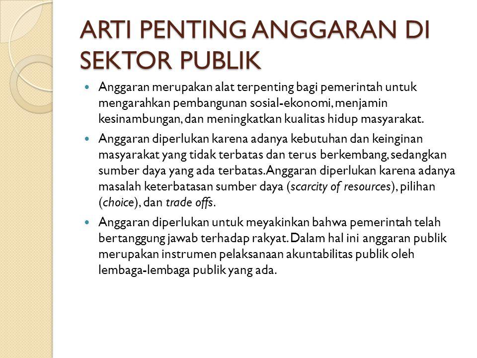 ARTI PENTING ANGGARAN DI SEKTOR PUBLIK