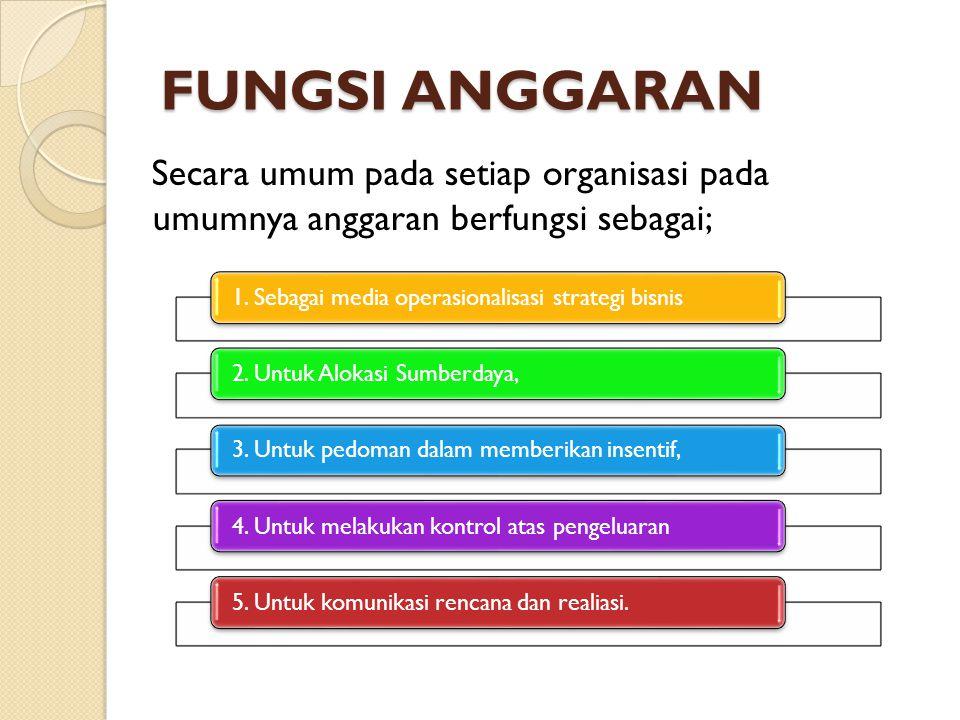 FUNGSI ANGGARAN Secara umum pada setiap organisasi pada umumnya anggaran berfungsi sebagai; 1. Sebagai media operasionalisasi strategi bisnis.