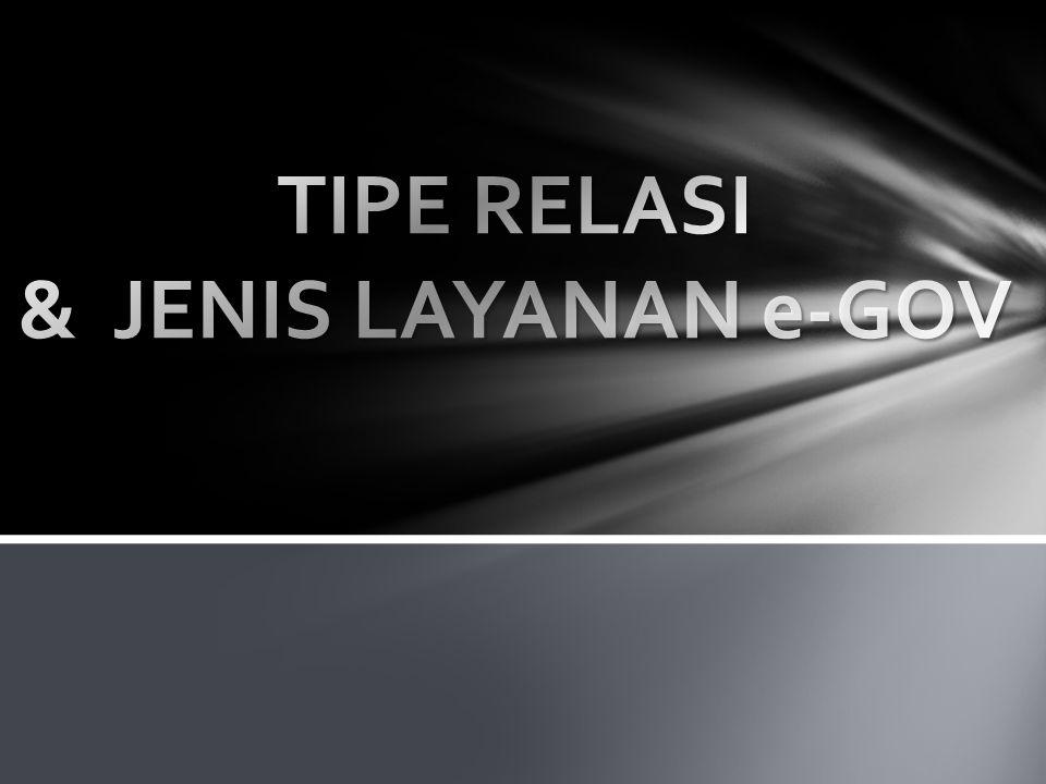 TIPE RELASI & JENIS LAYANAN e-GOV