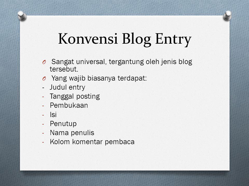 Konvensi Blog Entry Sangat universal, tergantung oleh jenis blog tersebut. Yang wajib biasanya terdapat: