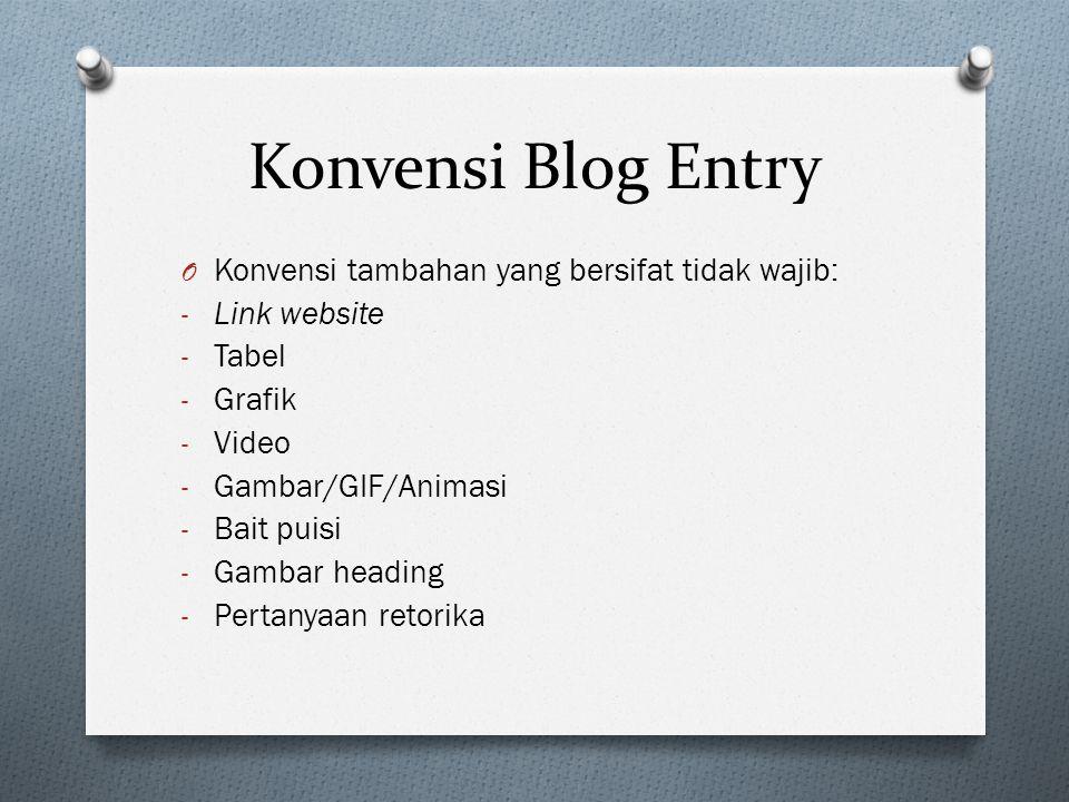 Konvensi Blog Entry Konvensi tambahan yang bersifat tidak wajib: