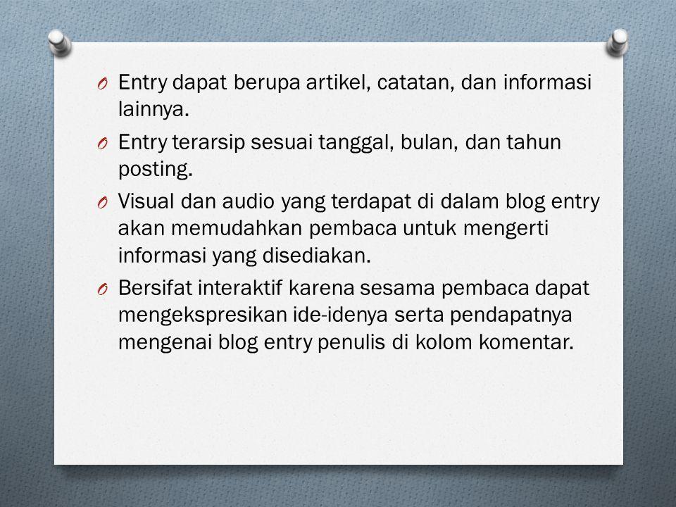 Entry dapat berupa artikel, catatan, dan informasi lainnya.