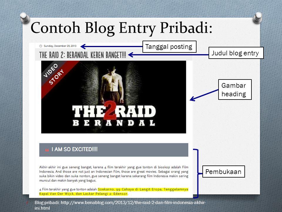 Contoh Blog Entry Pribadi: