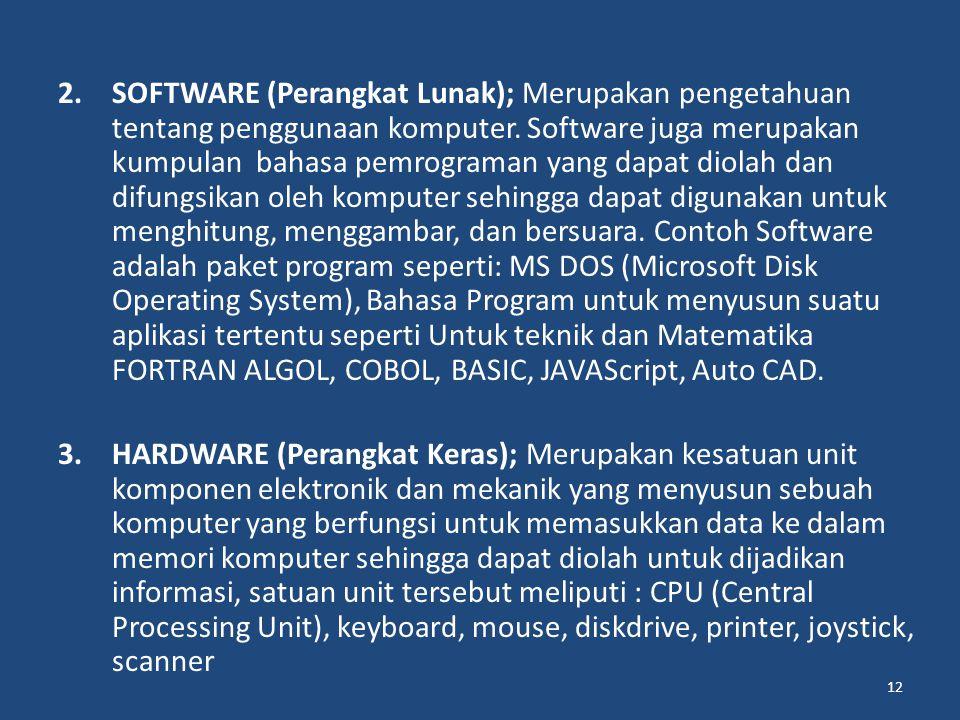SOFTWARE (Perangkat Lunak); Merupakan pengetahuan tentang penggunaan komputer. Software juga merupakan kumpulan bahasa pemrograman yang dapat diolah dan difungsikan oleh komputer sehingga dapat digunakan untuk menghitung, menggambar, dan bersuara. Contoh Software adalah paket program seperti: MS DOS (Microsoft Disk Operating System), Bahasa Program untuk menyusun suatu aplikasi tertentu seperti Untuk teknik dan Matematika FORTRAN ALGOL, COBOL, BASIC, JAVAScript, Auto CAD.