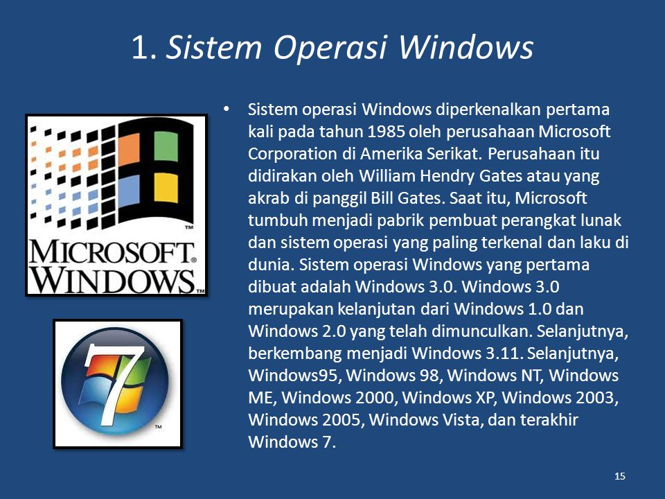 1. Sistem Operasi Windows