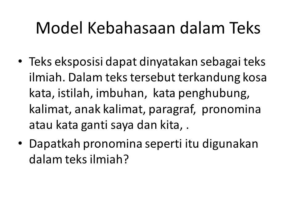 Model Kebahasaan dalam Teks