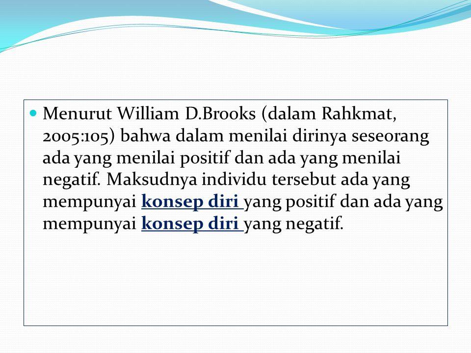 Menurut William D.Brooks (dalam Rahkmat, 2005:105) bahwa dalam menilai dirinya seseorang ada yang menilai positif dan ada yang menilai negatif.