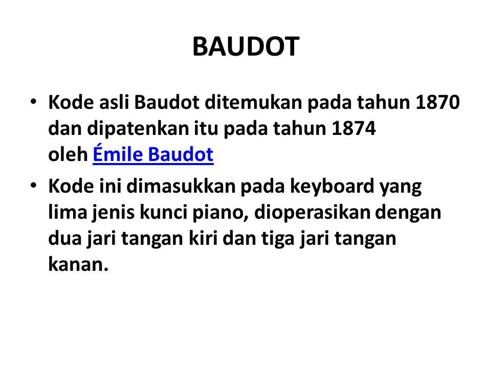 BAUDOT Kode asli Baudot ditemukan pada tahun 1870 dan dipatenkan itu pada tahun 1874 oleh Émile Baudot.