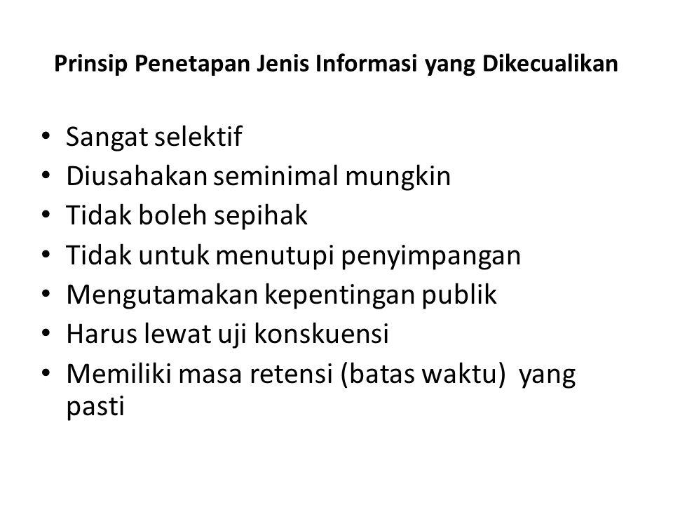 Prinsip Penetapan Jenis Informasi yang Dikecualikan