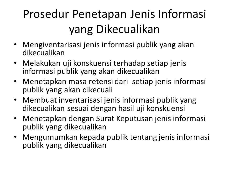 Prosedur Penetapan Jenis Informasi yang Dikecualikan