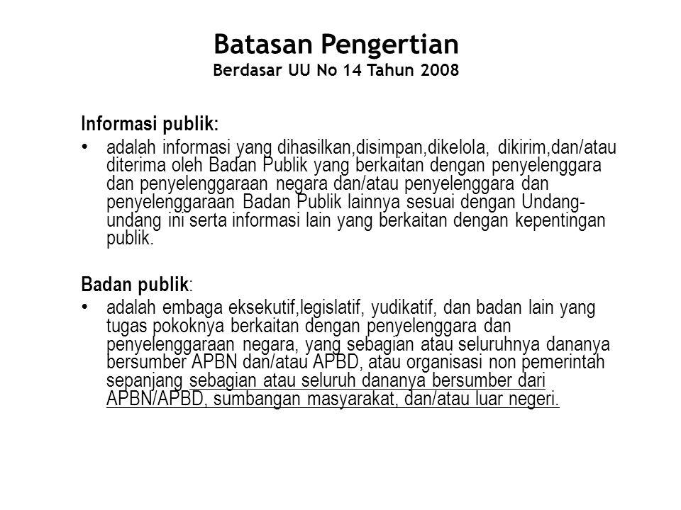 Batasan Pengertian Berdasar UU No 14 Tahun 2008