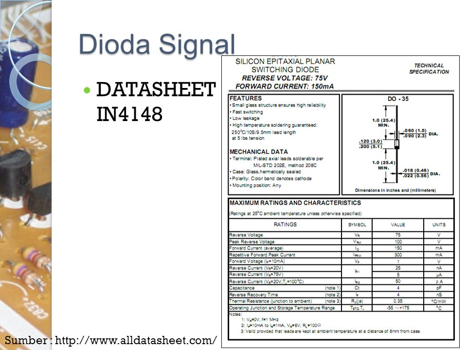 Dioda Signal DATASHEET IN4148 Sumber : http://www.alldatasheet.com/