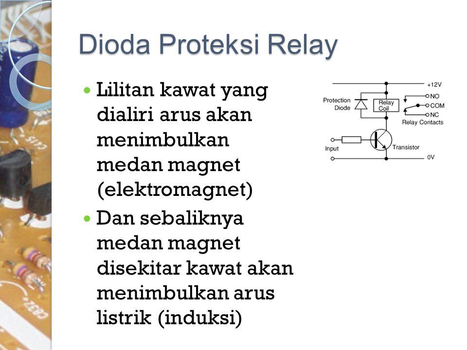 Dioda Proteksi Relay Lilitan kawat yang dialiri arus akan menimbulkan medan magnet (elektromagnet)