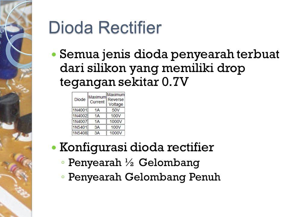 Dioda Rectifier Semua jenis dioda penyearah terbuat dari silikon yang memiliki drop tegangan sekitar 0.7V.