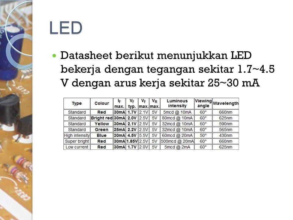 LED Datasheet berikut menunjukkan LED bekerja dengan tegangan sekitar 1.7~4.5 V dengan arus kerja sekitar 25~30 mA.