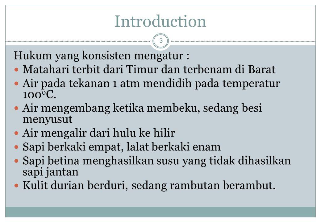 Introduction Hukum yang konsisten mengatur :