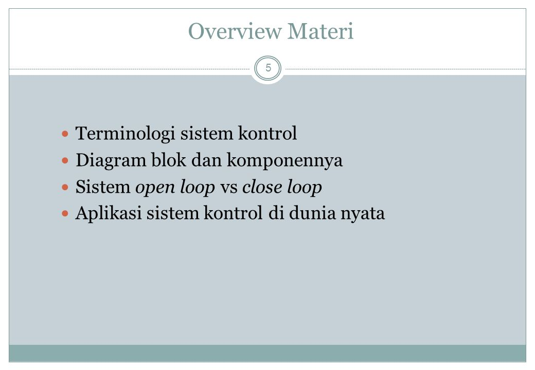 Overview Materi Terminologi sistem kontrol