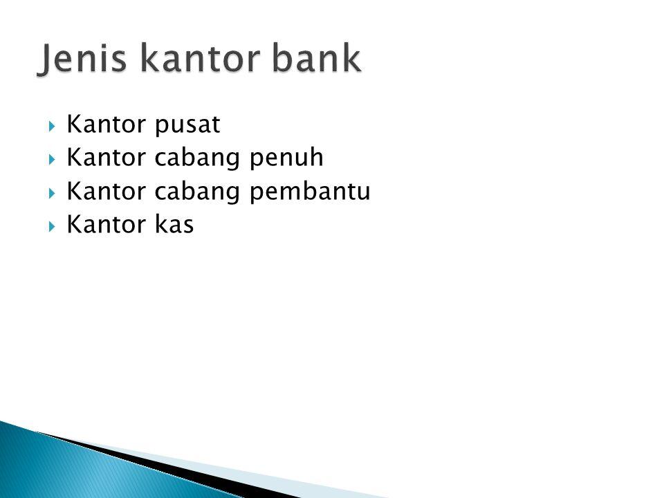Jenis kantor bank Kantor pusat Kantor cabang penuh