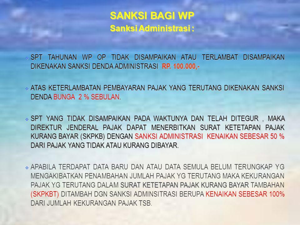 SANKSI BAGI WP Sanksi Administrasi :