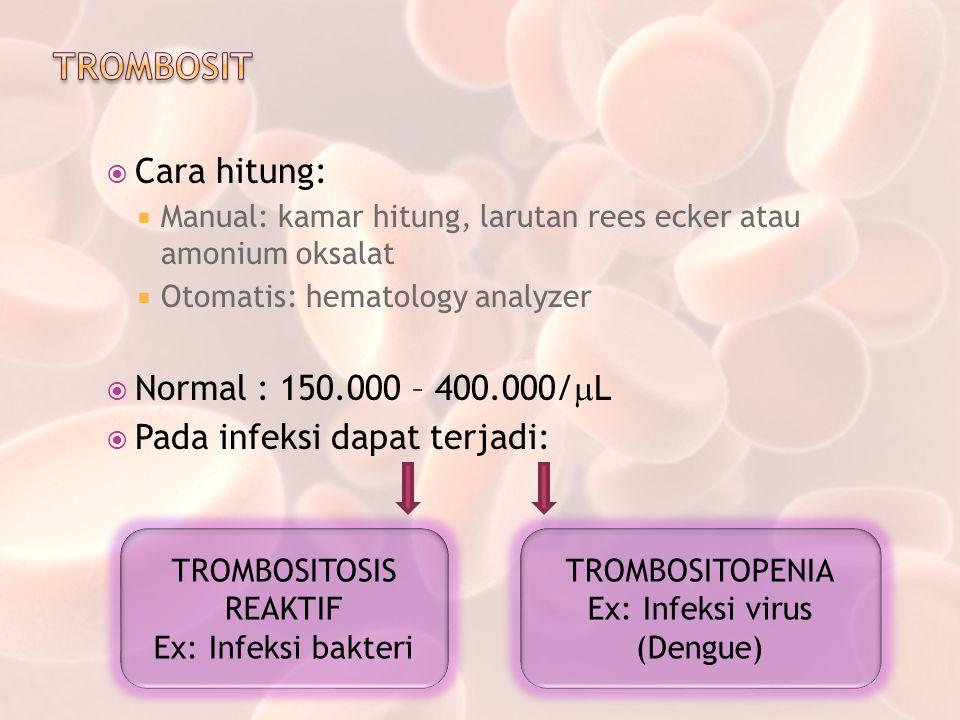TROMBOSIT Cara hitung: Normal : 150.000 – 400.000/L