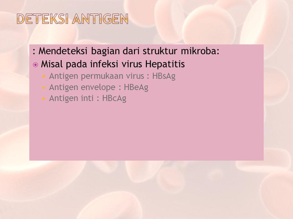 DETEKSI ANTIGEN : Mendeteksi bagian dari struktur mikroba: