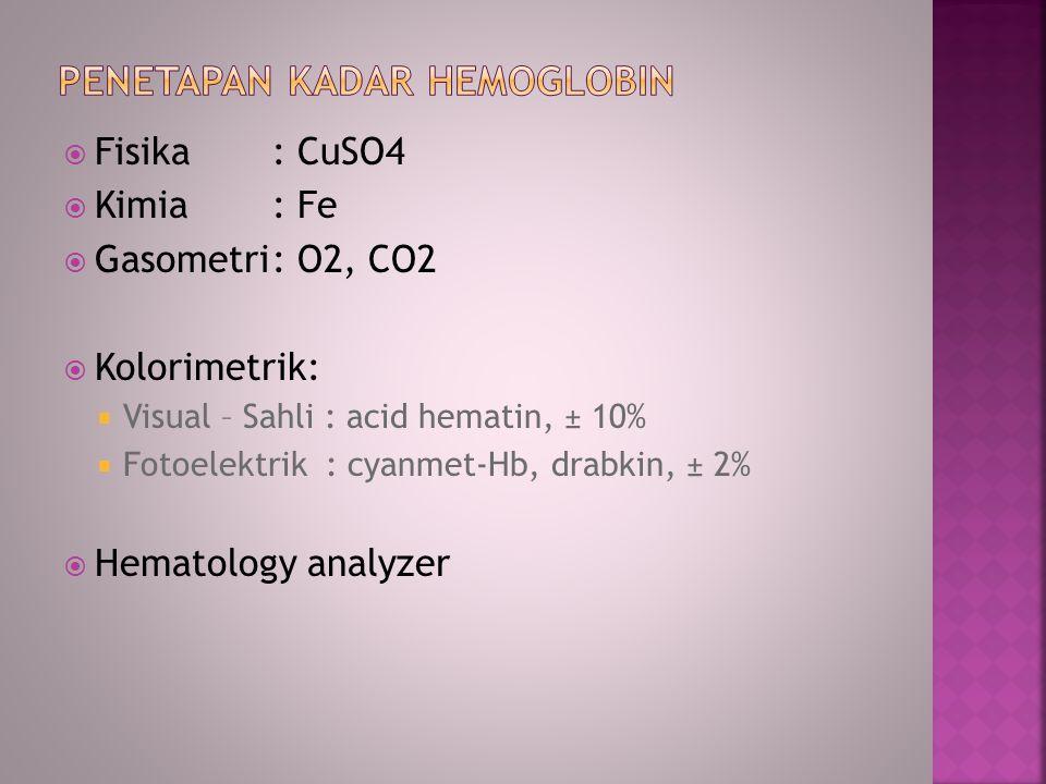 PeNETAPAN KADAR HEMOGLOBIN
