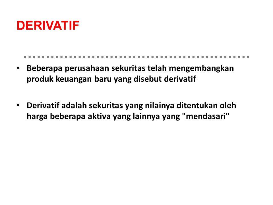 DERIVATIF Beberapa perusahaan sekuritas telah mengembangkan produk keuangan baru yang disebut derivatif.