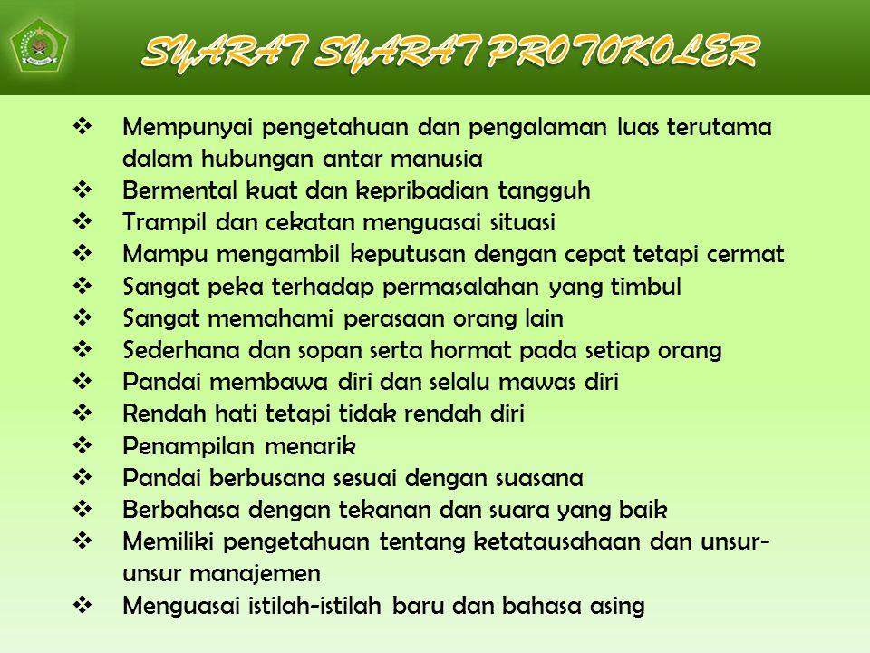 SYARAT SYARAT PROTOKOLER