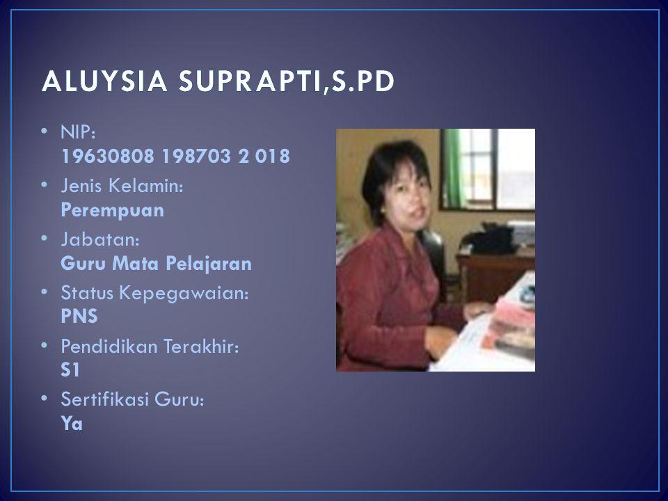 ALUYSIA SUPRAPTI,S.PD NIP: 19630808 198703 2 018