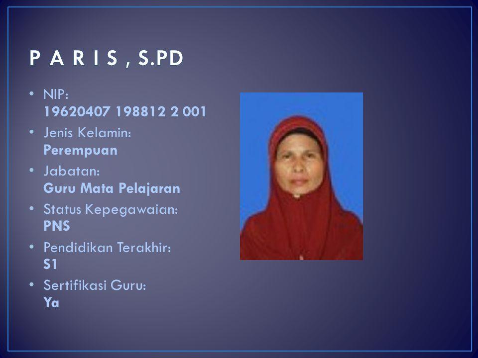 P A R I S , S.PD NIP: 19620407 198812 2 001 Jenis Kelamin: Perempuan