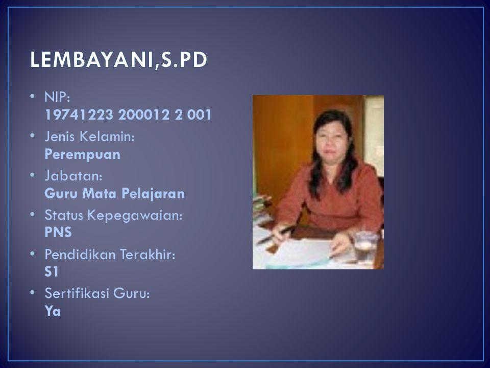 LEMBAYANI,S.PD NIP: 19741223 200012 2 001 Jenis Kelamin: Perempuan