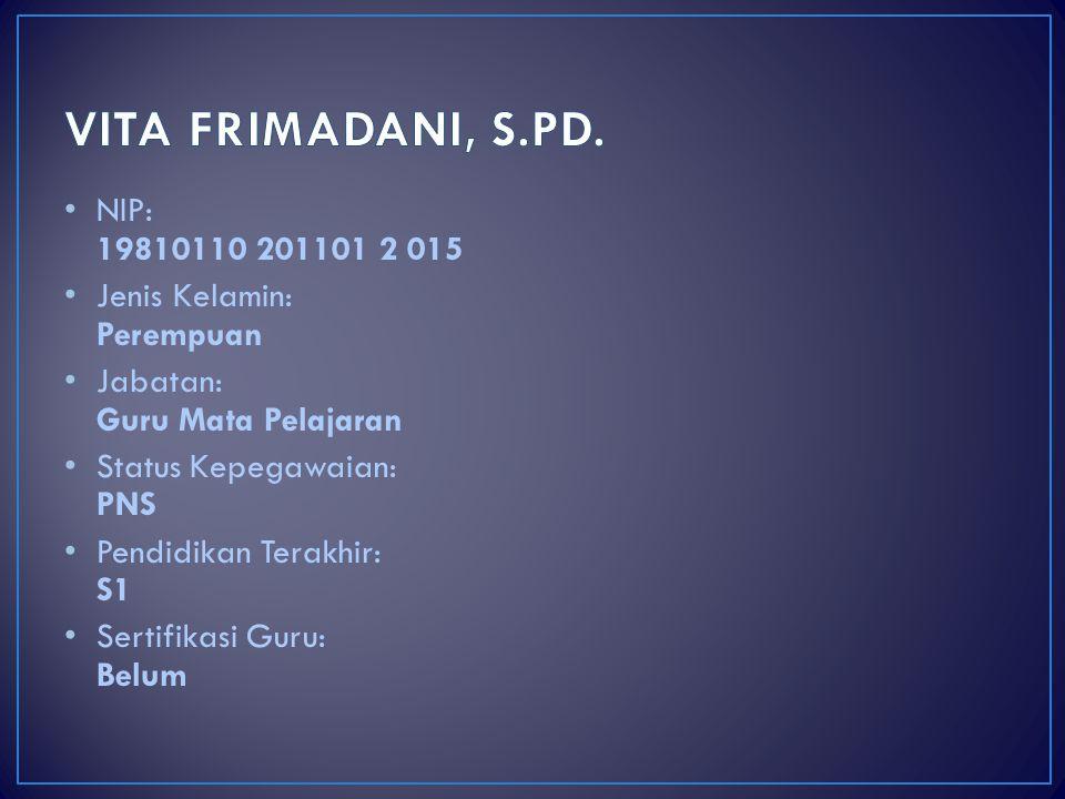 VITA FRIMADANI, S.PD. NIP: 19810110 201101 2 015