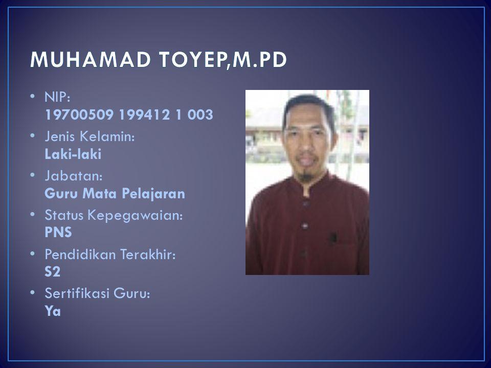 MUHAMAD TOYEP,M.PD NIP: 19700509 199412 1 003 Jenis Kelamin: Laki-laki