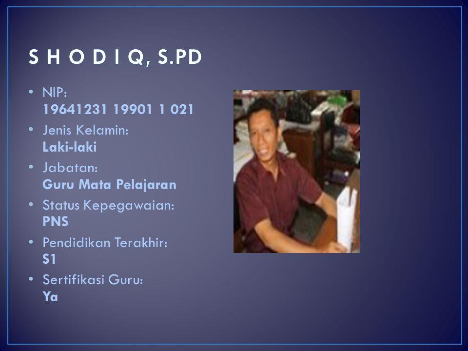 S H O D I Q, S.PD NIP: 19641231 19901 1 021 Jenis Kelamin: Laki-laki