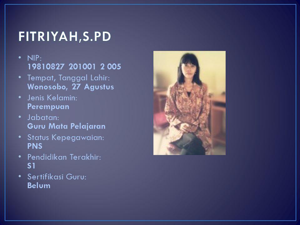 FITRIYAH,S.PD NIP: 19810827 201001 2 005. Tempat, Tanggal Lahir: Wonosobo, 27 Agustus. Jenis Kelamin: Perempuan.
