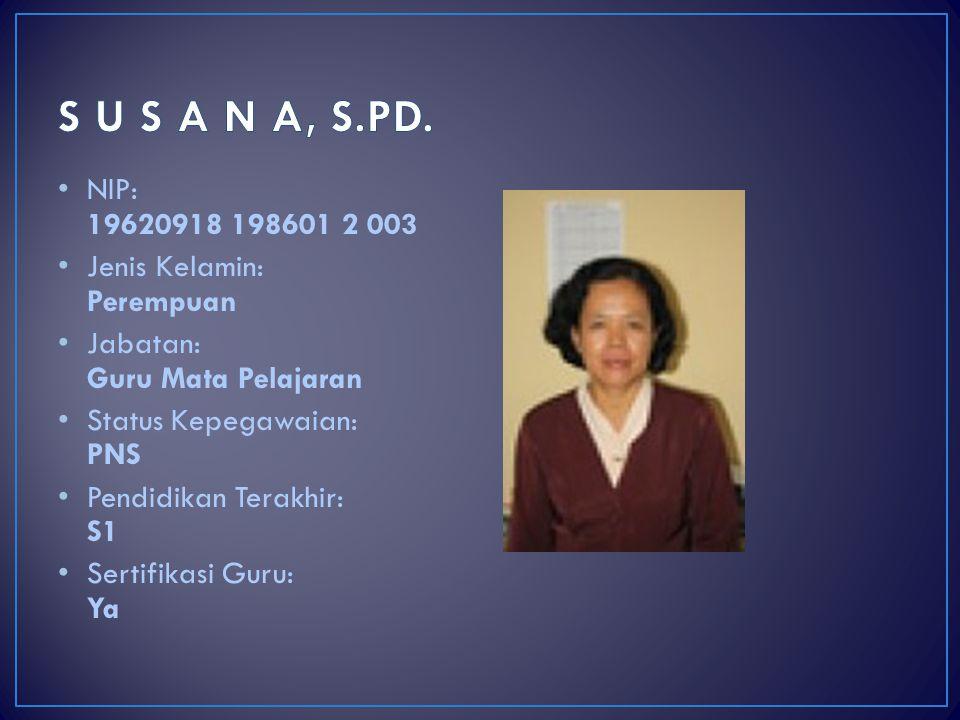 S U S A N A, S.PD. NIP: 19620918 198601 2 003 Jenis Kelamin: Perempuan