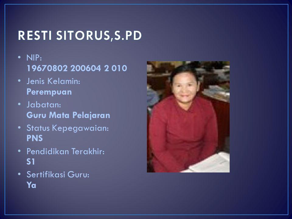 RESTI SITORUS,S.PD NIP: 19670802 200604 2 010 Jenis Kelamin: Perempuan
